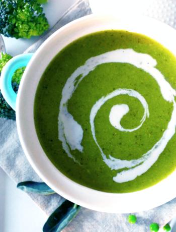 Soupe verte brocolis et petits pois