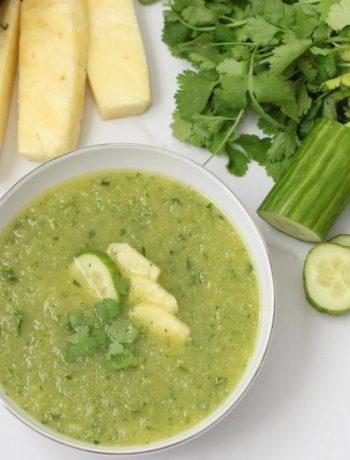 Gaspacho à l'ananas et au concombre