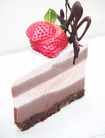 Gâteau au fauxmage fraises chocolat