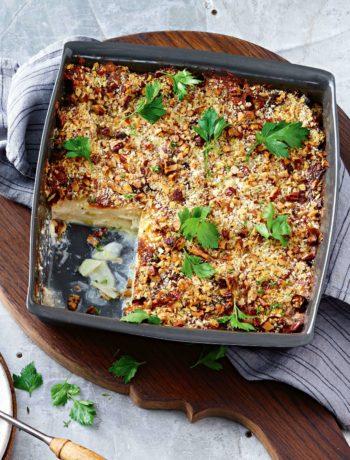Crumble de poireaux vegan au fromage
