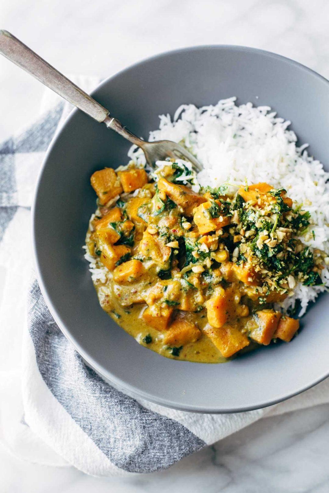 Curry de patate douce au saté