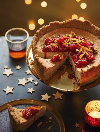 Cheesecake vegan, framboises et clémentine