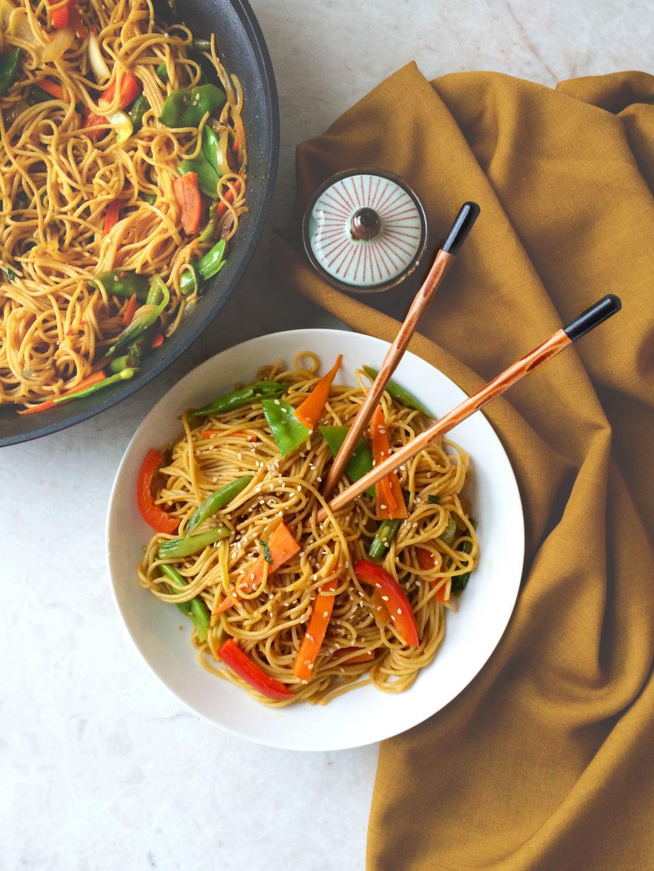 Nouilles chinoises à la sauce ail et gingembre